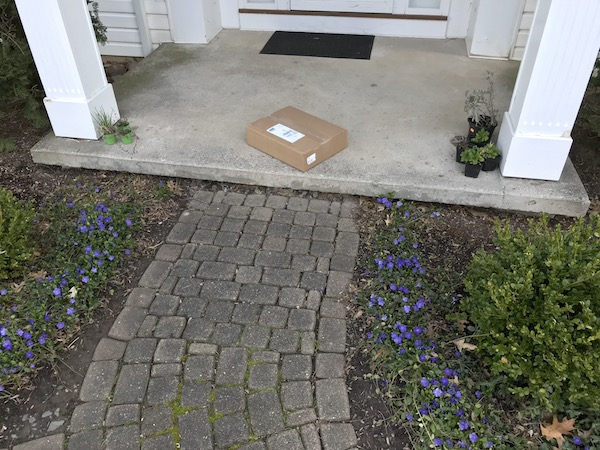 A package was delivered in a brown box.
