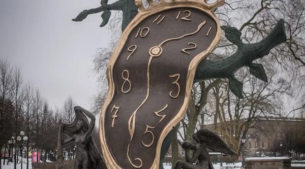 "Salvador Dalí's ""Persistence of Memory"" displayed at Norrmalmstorg in downtown Stockholm, 2019."