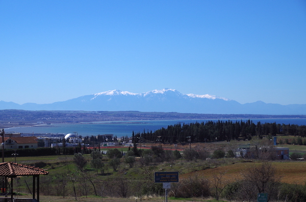 View of the Thermaic Gulf and Mt. Olympusfrom my living room balcony.