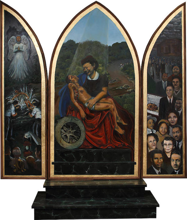 """""""Emmett Till Memorial Triptych,"""" by Art Nomad Sandra Hansen."""