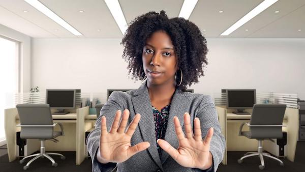 Black-whilst-Working[https://www.forbes.com/sites/janicegassam/2020/01/08/stop-asking-black-people-if-you-can-touch-their-hair/#5ed0549b50a7]. (Image: Getty.)