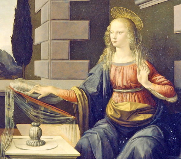 "Detail from ""The Annunciation,"" by Leonardo da Vinci."