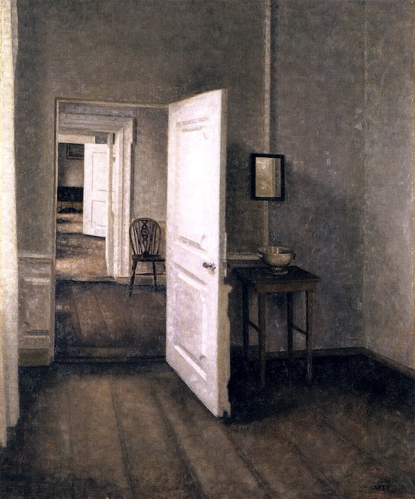 """""""Four Rooms Interior from The Artist's Home,"""" by Vilhelm Hammershøi."""