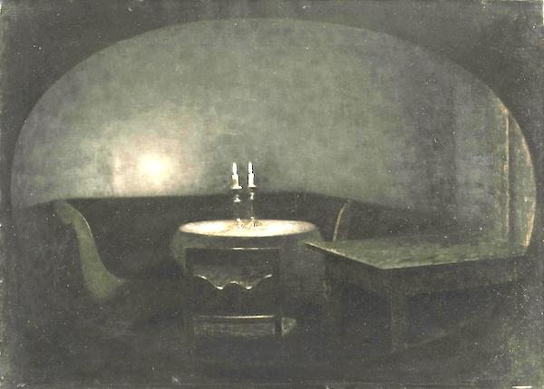 """Interior. Artificial Light,"" by Vilhelm Hammershøi."