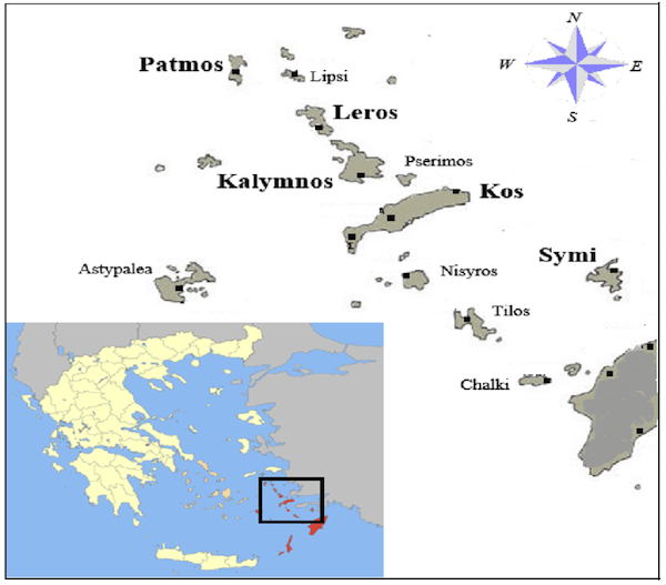 Pserimos, among the other Dodecanese.