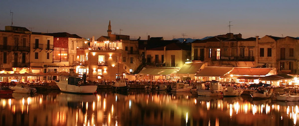 Too-busy nighttime dining, Rethymnon, Crete.