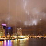 14 May 2007: Lights along the fire line memorialize the bombing of Rotterdam.