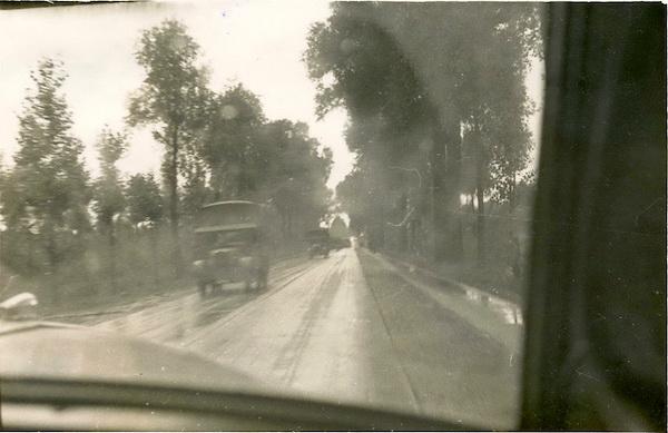 Holland in the rain, through an OpelBlitz[truck] windscreen, May 1940.