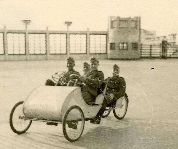 Pedal-car tourists.