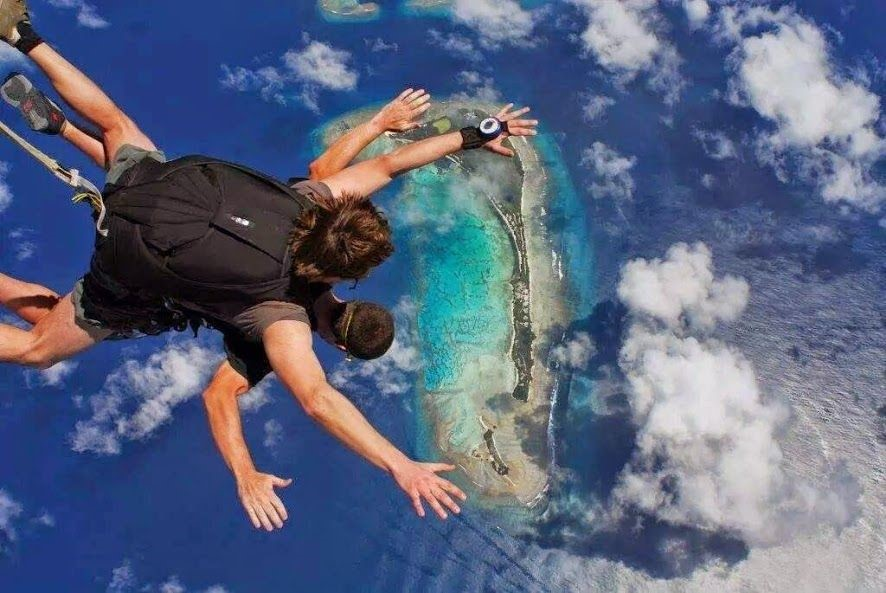 Sky Diving in one of the Southern Atolls