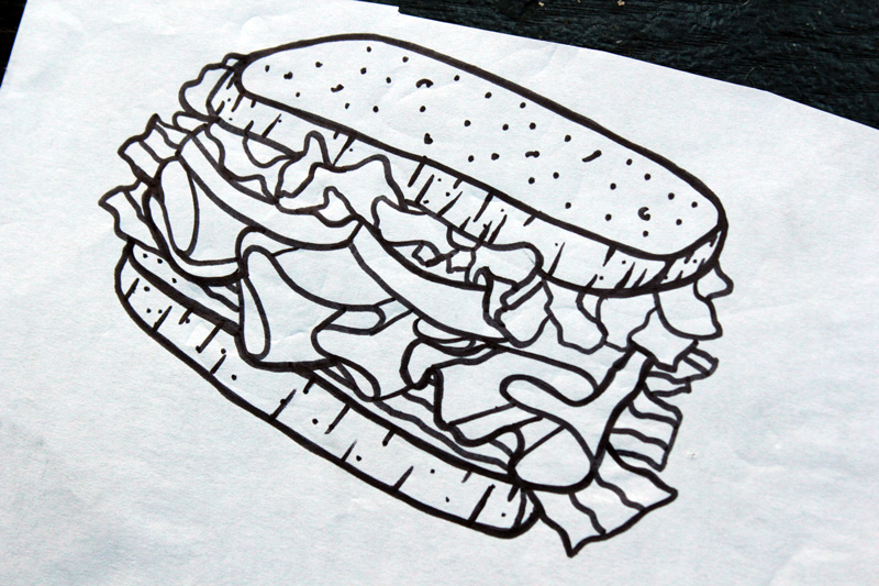 Lunch Meat Corp. Sandwich Illustration & Beanie