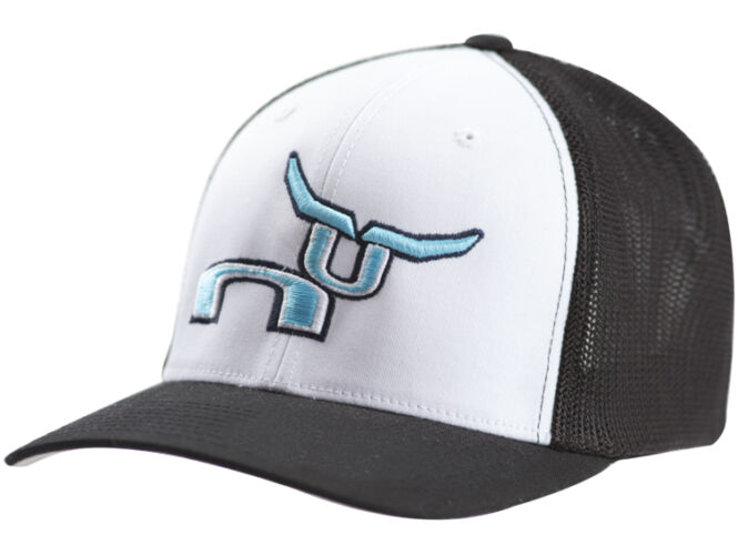 RS Black & White Fitted Cap with Teal Steer Logo