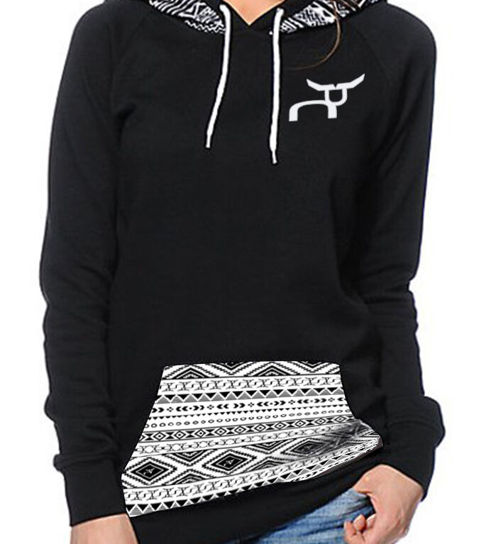 RS Chic Hoodie Long Sleeve Geometric Print