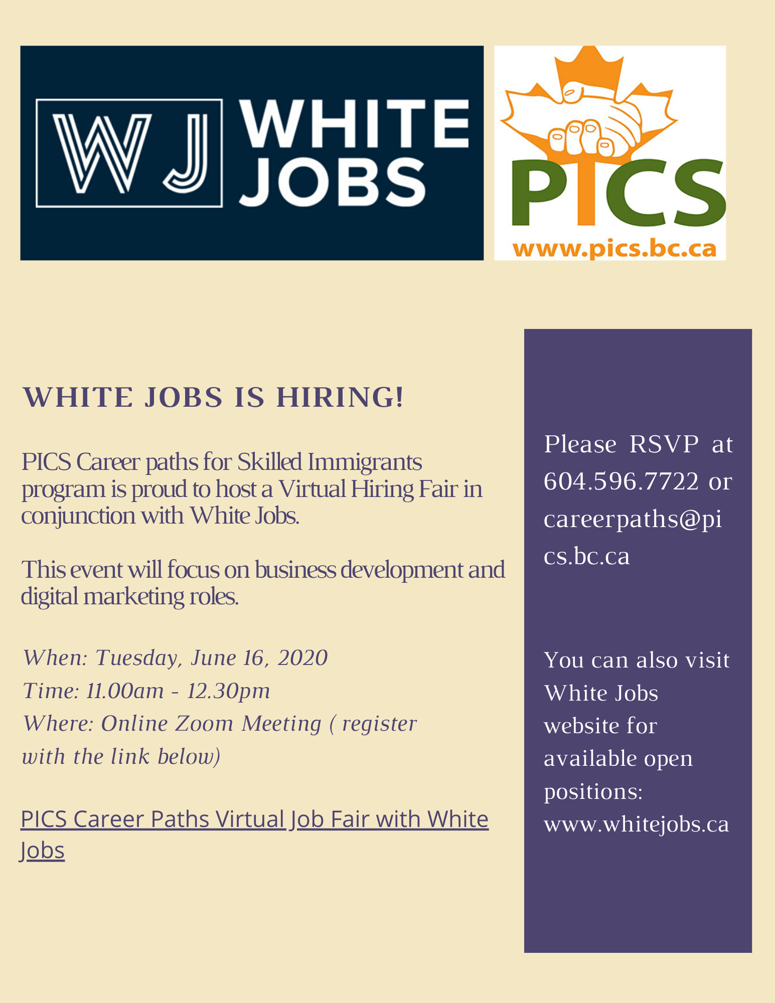 Virtual Hiring Fair in association wit PICS