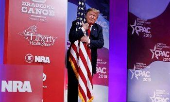 "Trump Hugs American Flag – Tells CPAC Crowd Mueller Investigation Is ""Bullshit"""