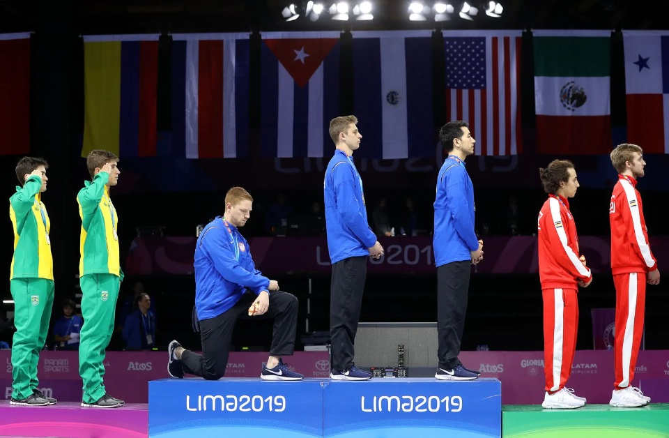 American Fencer Takes A Knee During Gold Medal Ceremony – Sends Message To Trump