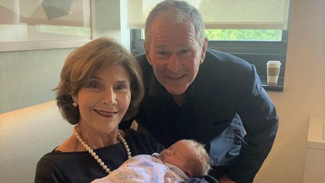 George W. Bush Celebrates Birth Of His First Grandson