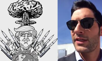 "Tom Ellis Posts Cartoon Of Trump At War – ""I'm Praying For The World Right Now"""