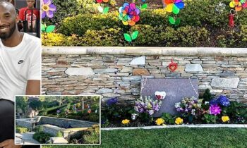 Kobe & Gianna's Final Resting Place – Decorated With Lakers Colored Flowers, Pinwheels & Rosaries
