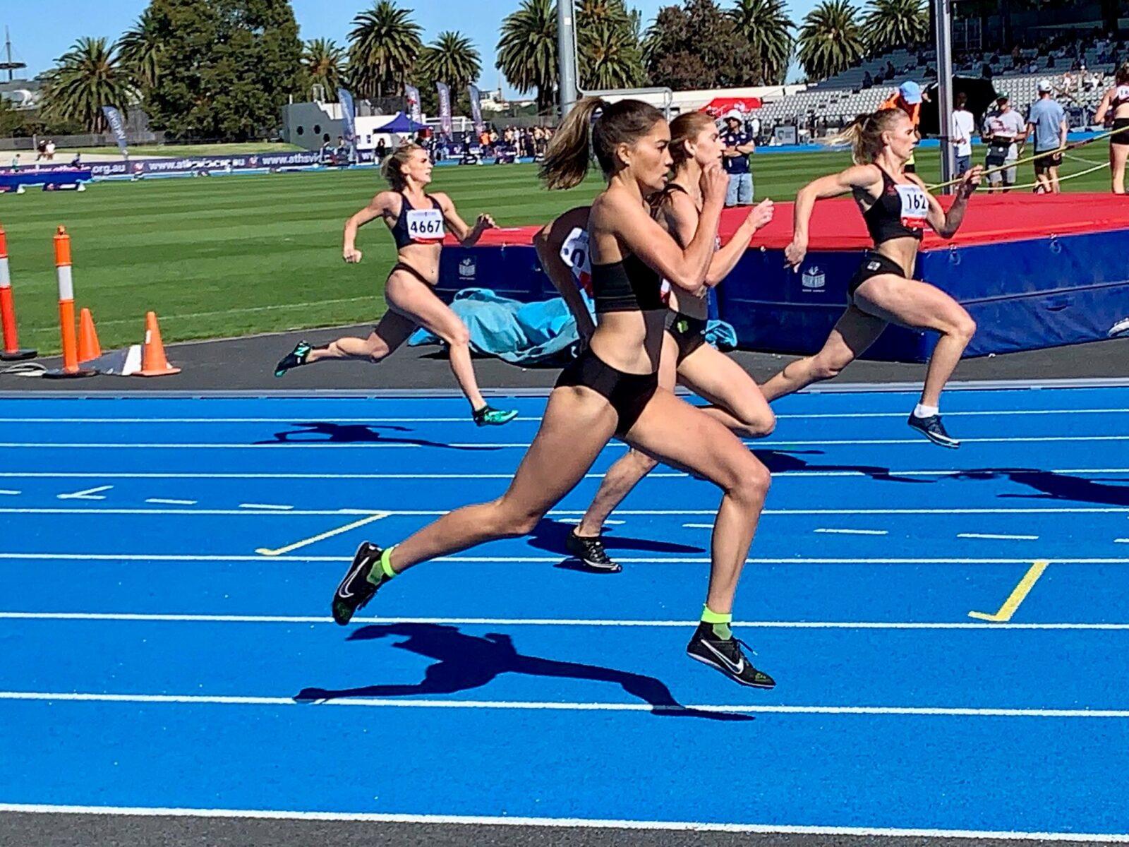 Women sprinting