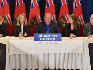 Doug Ford showcases his team in Ottawa on June 2, 2018.