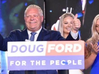Doug Ford celebrates a big election win.