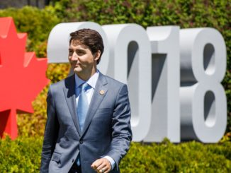 Justin Trudeau at the G7 in Charlevoix.