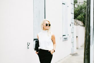 Boyish Asos high neck sleeveless turtleneck white high waist trousers slacks Forever 21 black patent leather oxfords // Charleston Fashion Blogger Dannon Like The Yogurt