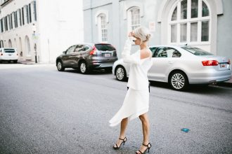 Cold Shoulder Cmeo Collective white top paradise awaits skirt blogger street style Summer 2016 // Charleston Fashion Blogger Dannon Like The Yogurt