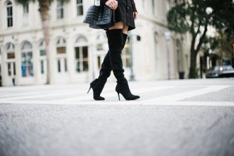 Who What Wear ruffle blouse target sheer long sleeve mock neck button up a line black skirt over-the-knee black suede boots street style fall autumn trends 2016 // Charleston Fashion Blogger Dannon Like The Yogurt
