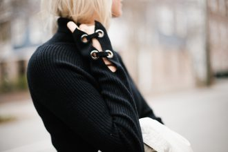 Asymmetrical knit black skirt chic wish turtleneck sweater david lerner ny minimalist blogger winter street style // Charleston Fashion Blogger Dannon Like The Yogurt