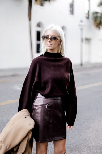 Leather Maroon mini high waist skirt oversized knit sweater burgundy camel coat loafers fall 2017 street style Charleston Fashion Blogger Dannon Like The Yogurt