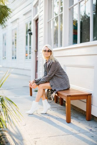 Fall Neutrals burgundy leather skirt houndstooth check long coat white ankle boots tan turtleneck Charleston Fashion Blogger Dannon Like The Yogurt Clay Austin Photography