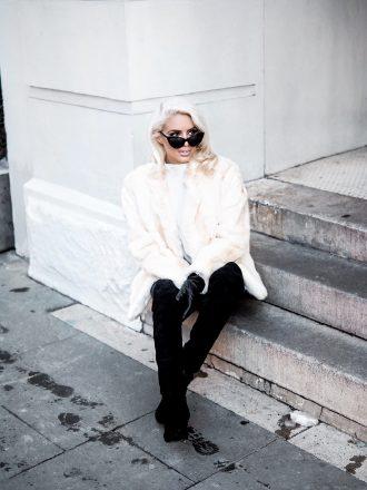 snowed vintage fur white leather pants thigh high boots platinum blonde cat eye sunglasses Charleston Fashion Blogger Dannon Like The Yogurt