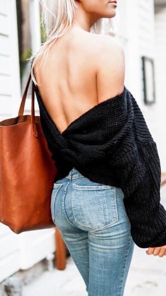 Loose Knits twist back sweater skinny jeans nude heels Charleston Fashion Blogger Dannon Like The Yogurt