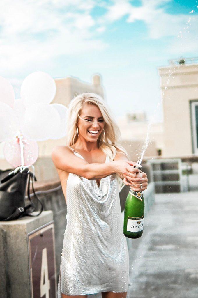30th birthday girl silver chainmail rhinestone dress vegas themed party // Charleston blogger dannon k collard like the yogurt