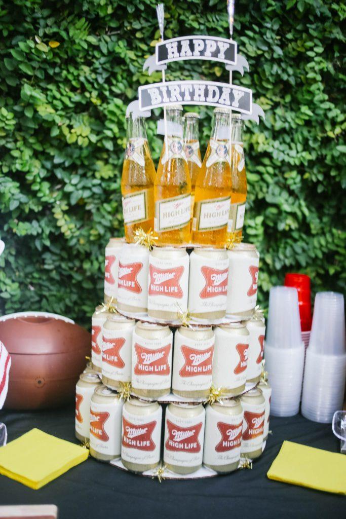 carolina gamecocks tailgate themed party // charleston fashion lifestyle blogger dannon k collard hammy catering beer tower high life miller birthday cake