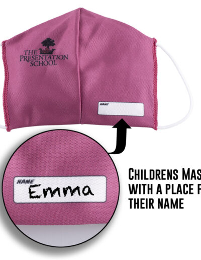 Childrens facemask with place for name