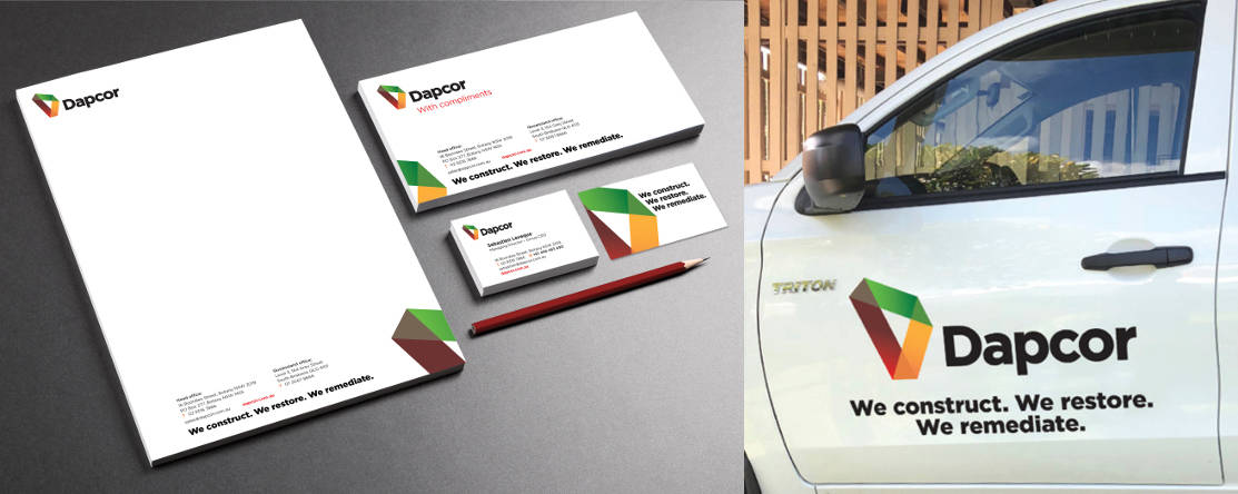 Dapcor signage and stationery