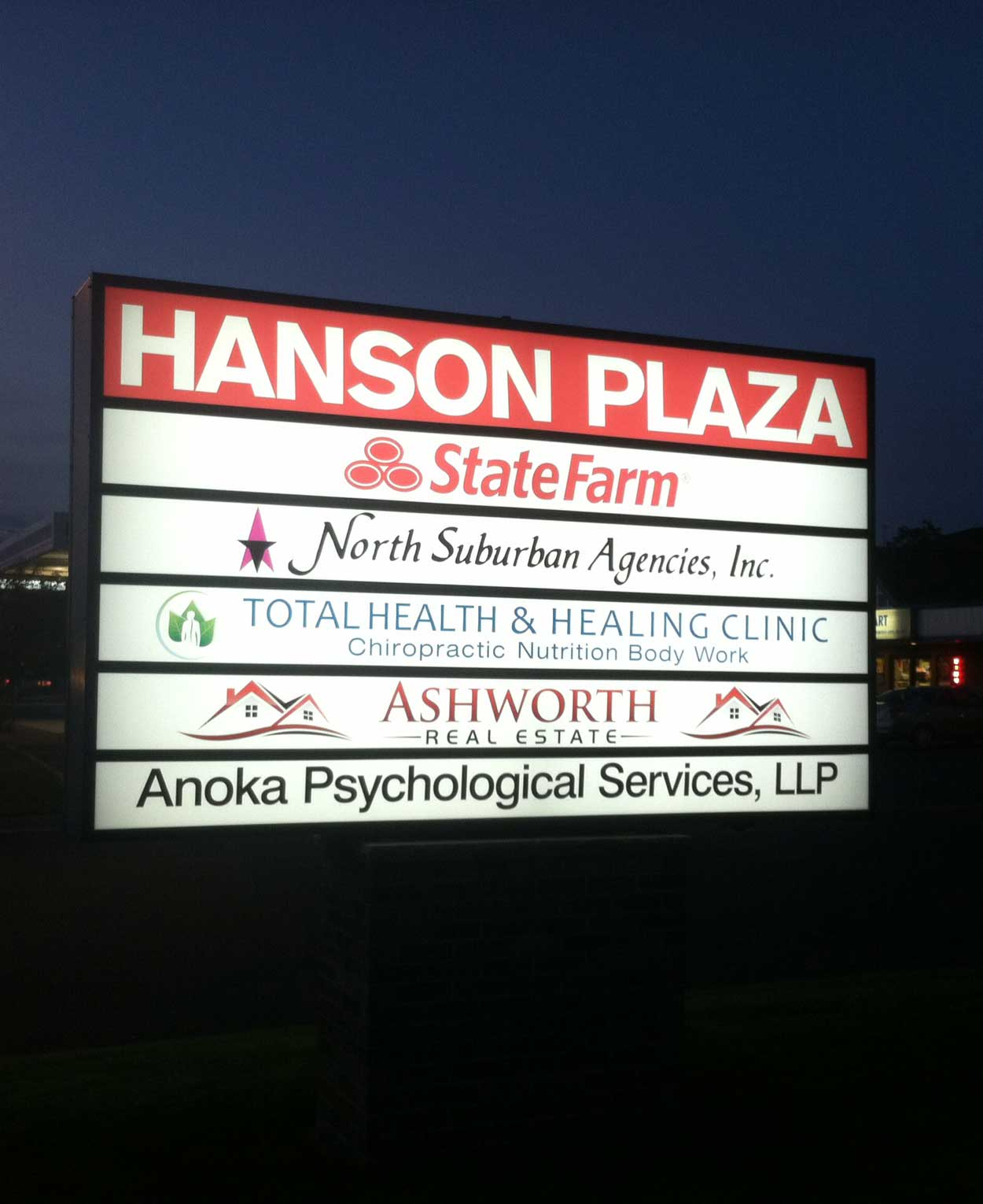 custom pylon sign hanson plaza installation