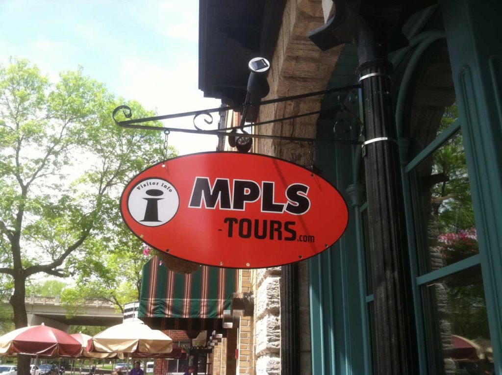 outdoor business sign MPLS Tours