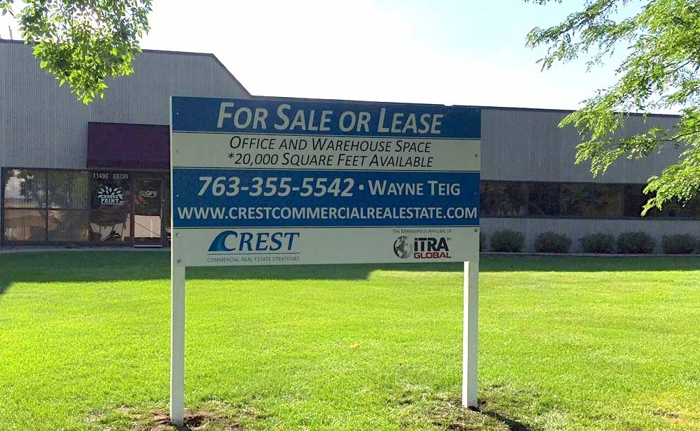 for sale or lease outdoor business sign