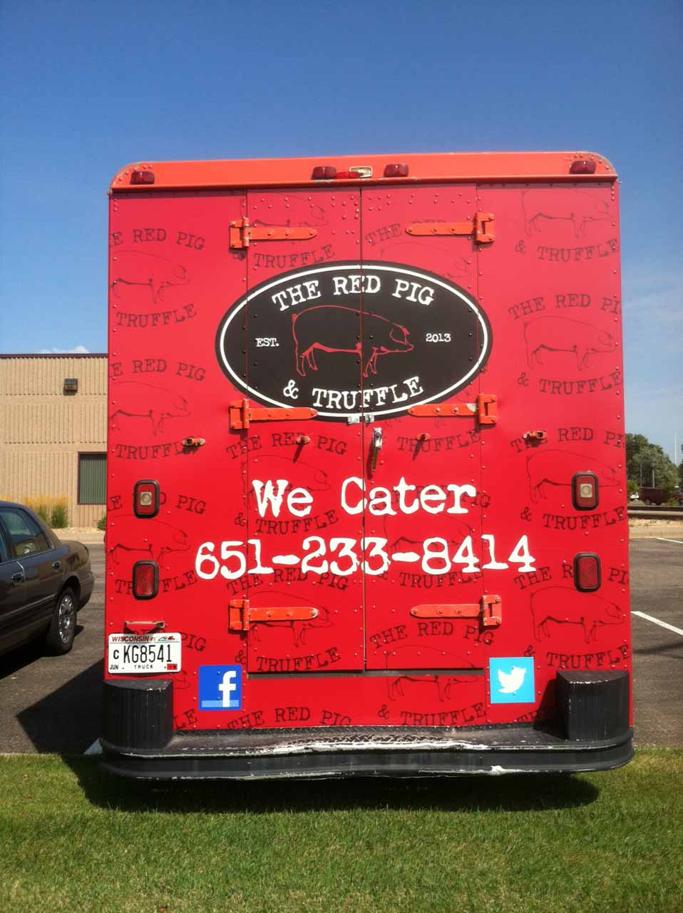 truck decal the red pig