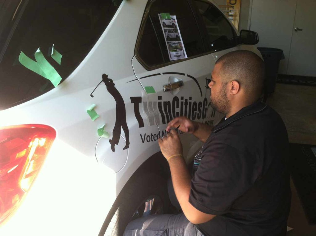 car decal twin cities golf installation