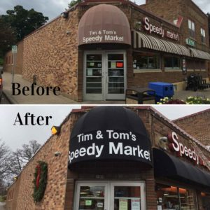 before and after outdoors awning outdoor sign