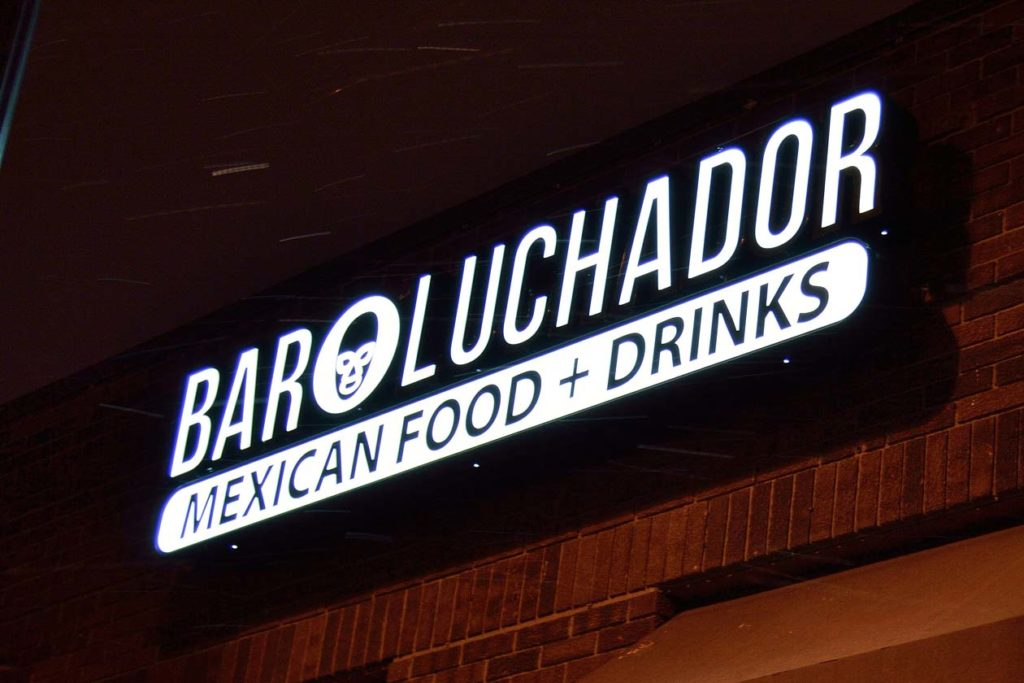 business outdoor signs bar luchador