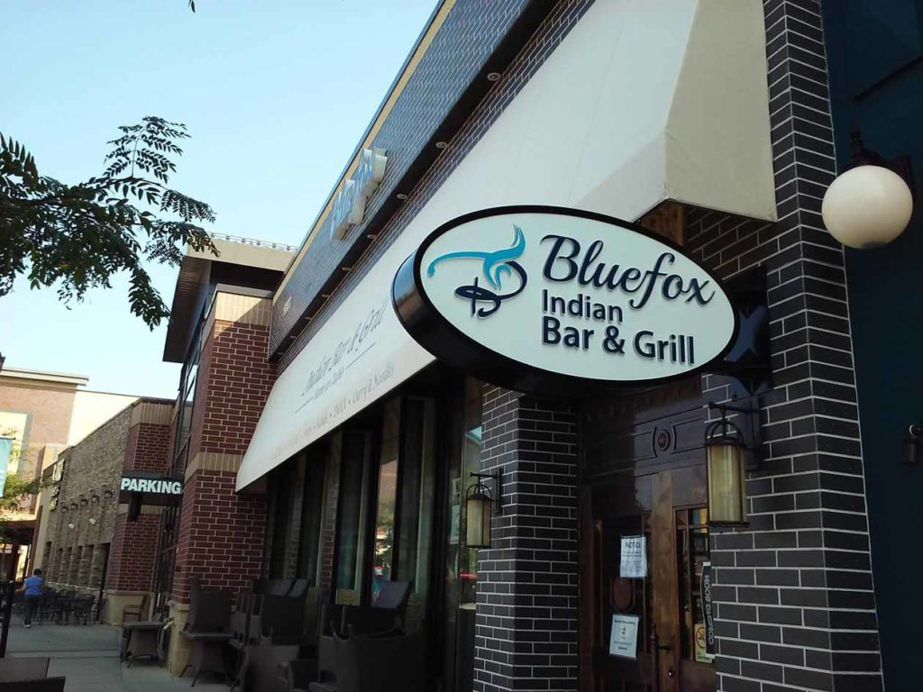 business outdoor signs bluefox indian bar and grill