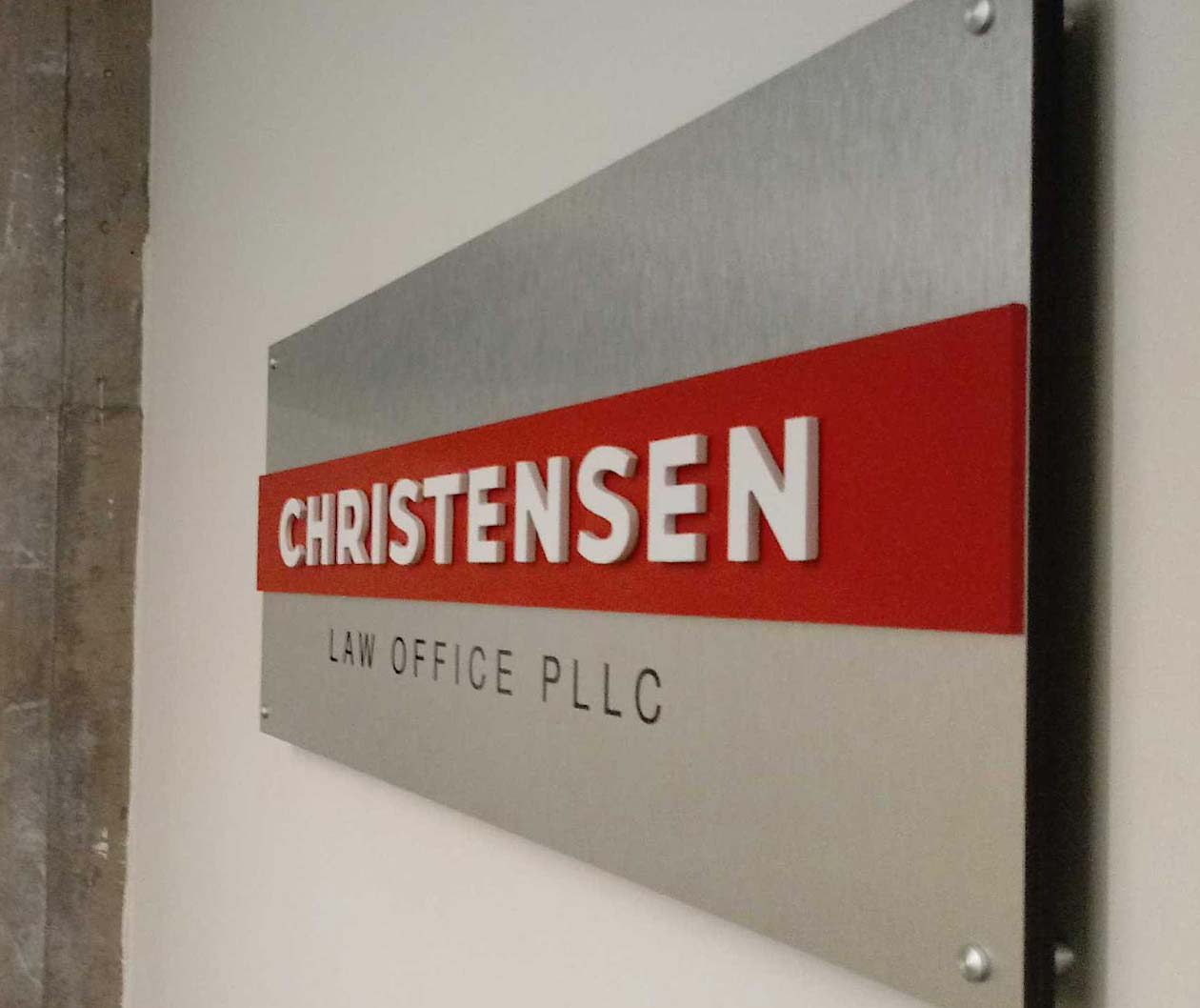 indoor business signs christensen law office