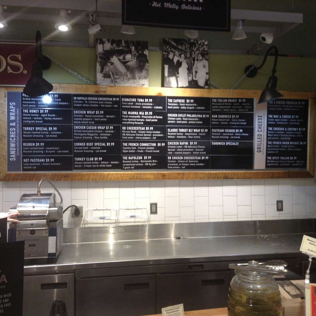 custom menu board dibruno