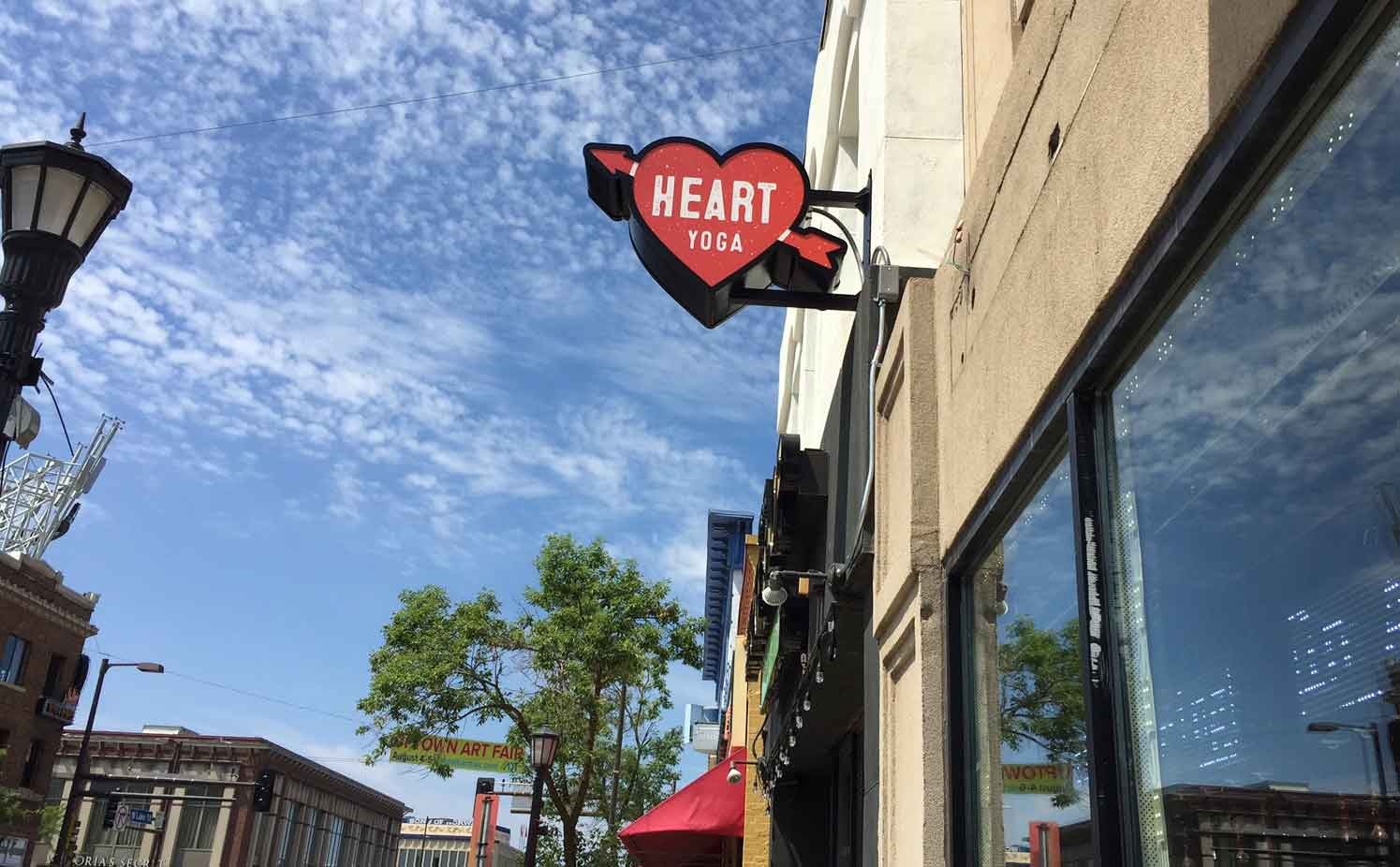 business outdoor signs heart yoga